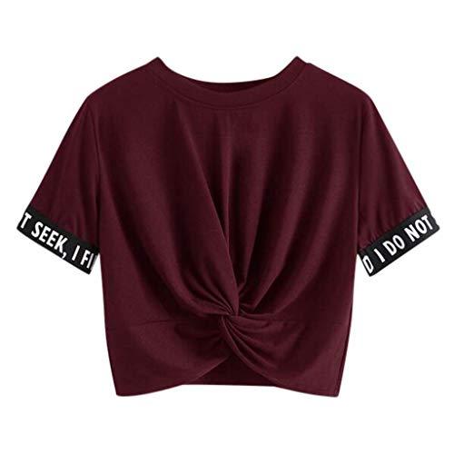 Sommer T-Shirt Damen Bauchfrei Rundhals Brief Drucken Kurzarm Crop Top Saum Streifen Shirt Junges Mädchen Oberteil Bluse