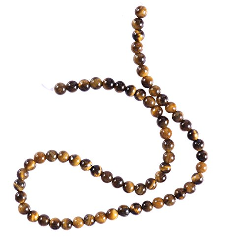 Healifty - Perline a occhio di tigre, pietra naturale rotonda, pietre sfuse per gioielli fai da te, 6 mm, 64 pezzi