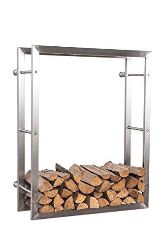 CLP exklusiver Kaminholzständer KERI für die Wand, rostfreier & robuster Edelstahl, Holzbutler in bis zu 8 Größen wählbar, 25 x 100 x 100 cm