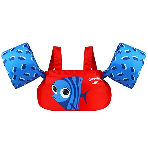 Kids Pool Floats Swim Vest Life Jacket for 2-6, Toddler Arm Floaties Swim Aid with Water Wings and Shoulder Strap, for 30-50 Pounds Boys and Girls, Children Puddle/Beach, As A Jumper (Red Fish)