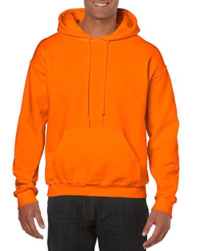 Gildan Men's Big and Tall Heavy Blend Fleece Hooded Sweatshirt G18500, Safety Orange, 3X-Large