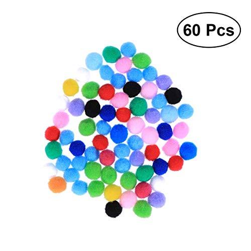 YeahiBaby Plüsch-Ball, bunt, Bommel, zum Annähen, für Kleidung, Hosen, Taschen, DIY Malerei, 60 Stück, 1,5 cm