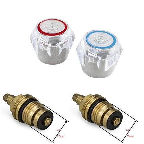 Testine di ricambio per rubinetti caldi e freddi 1/2'' trasparenti vendute in coppia