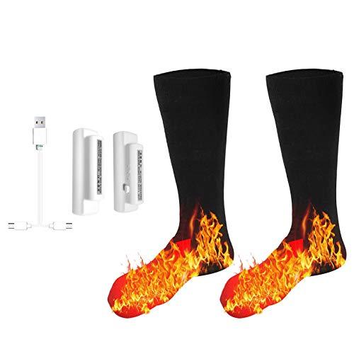 Galapare Calcetines Térmicos Eléctricos, Calentadores de pies para Hombres y Mujeres, Calcetines térmicos Lavables con batería para esquí de Invierno, Senderismo, Pesca, Montar mit Batterie