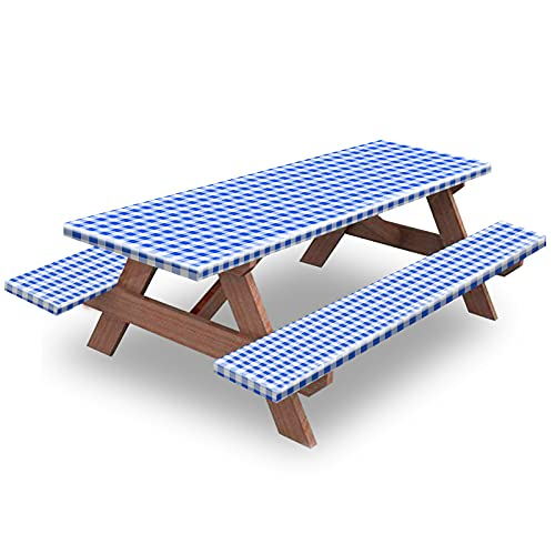 Picnic Table and Bench Fitted Tablecloth Cover, 3-Piece Set, KENOBEE Flannel Backing Elastic Edge Waterproof Wipeable Plastic Cover Vinyl Tablecloth for Home Goods Indoor Outdoor Patio, Blue-White