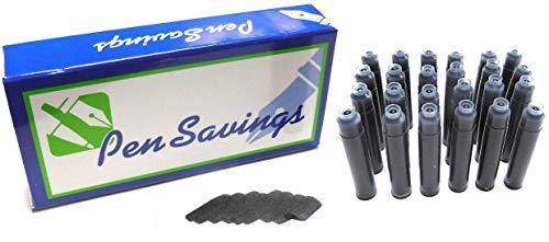 Pen Savings International Standard Short Fountain Pen Ink Cartridges, 24 Pack (Solar Black)