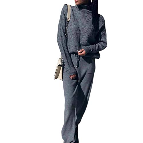 Shujin Damen Stricken Zweiteilige Sweatsuit Rollkragen Strickpullover mit Jogginghose Trainingsanzug Slim Fit Pullover Top Lounge Wear Jumper Set schlanke Lange Hosen Set