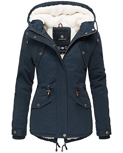 Marikoo Damen Parka Damen Jacke Winter Mantel Kapuzenjacke Damenjacke MNLYA70 (S, Navy/Blau)