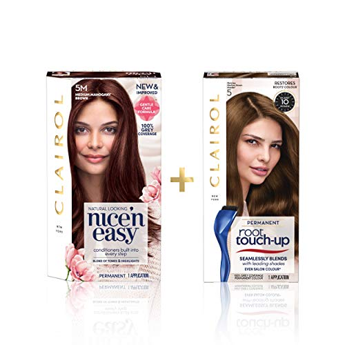 Clairol Nice'n Easy Permanent Colour (5M Medium Mahogany Brown) + Root Touch Up (5 Medium Brown)