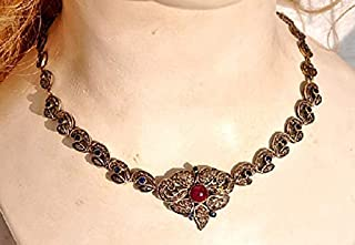 collar de diamantes sin cortar costozon establece 8 Tcw Ruby, Zafiro Rose Cut Diamond 925 Sterling Silver vintage art deco jewelry