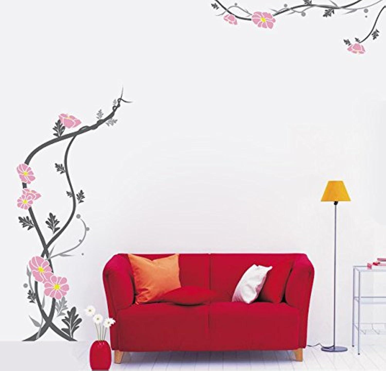 Pop Decors PT0057Va Peaceful Flowers59Inch Height Beautiful Wall Decals for Kids Rooms Wallpaper Murals Stickers Nursery Decor