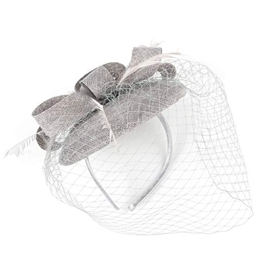 Dicomi Damen Haarband Haarschmuck 20er 50er Jahre Hut Pillbox Hut Cocktail Tea Party Headwear Fascinators Hüte Grau