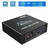 Keliiyo HDMI分配器 1入力2出力 HDMIスプリッター 2画面同時出力 4K/3D対応 HDTV/Xbox/PS4/DVDプレーヤー等対応 1年間保証付き