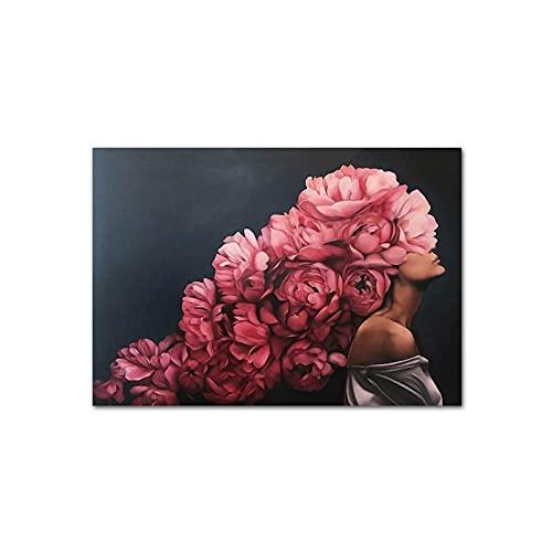 WPJ Wandkunstdruck, Federblumenfrauenkopf-Leinwandplakat, Nordische Abstrakte Wandkunstdruckmalerei, Modernes Dekoratives Bild Wohnzimmerdekoration