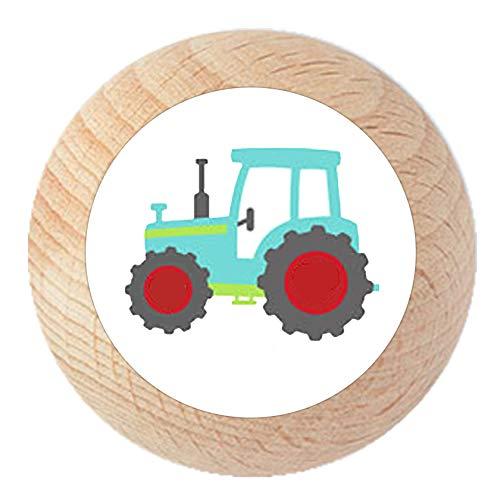 "Möbelknauf""Traktor"" natur klar lackiert Holz Buche Kinder Kinderzimmer 1 Stück Fahrzeuge Transportfahrzeuge Traum Kind"