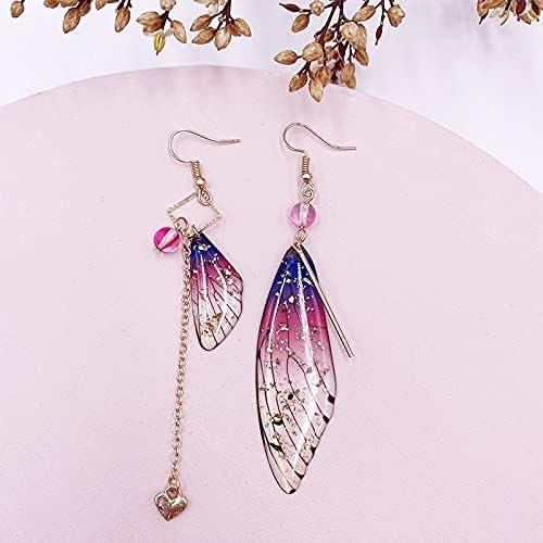 KANTAN88 - The Eardrop of Wings Temperament Than Fairy Eardrop cicada Wings Asymmetric Gradient Women Earrings 4.0 out of 5 stars 5 (Purple-gold-02)