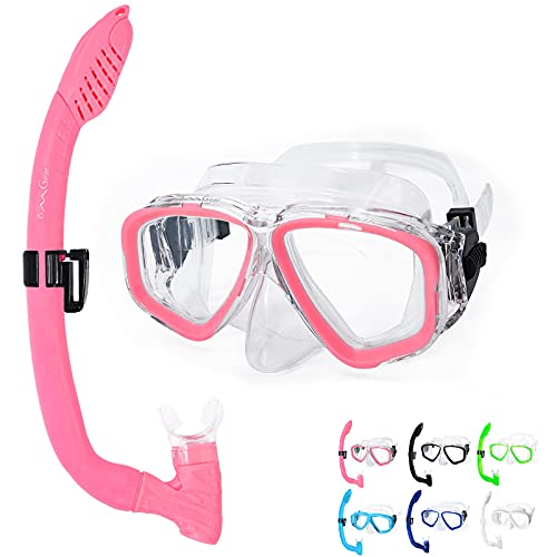 OMGear Diving Goggles and Snorkel Set for Kids Junior Youth Children Swim Mask Snorkel Combo Child Scuba Dive Mask Snorkeling Equipment(Pink)