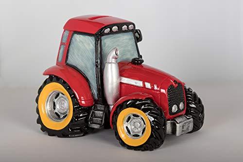 Topshop24you wunderschöne Spardose,Spardose,Sparschwein Traktor mit Pfropfen in rot