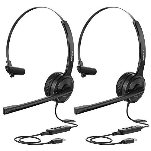 Mpow PC Headset, Stereo 40mm-Treiber USB Headset, 3.5mm Einseitiges Headset,Telefon Headset mit Mikrofon,Lautstärkeregler, Utra Leicht Headset für PC,Online-Konferenz,Handys,Skype, Voip(2 Packs)