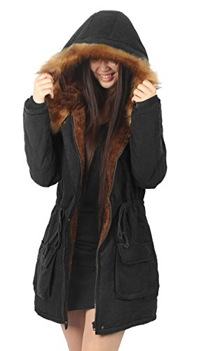Womens Hooded Faux Fur Lined  Black Jacket Coat