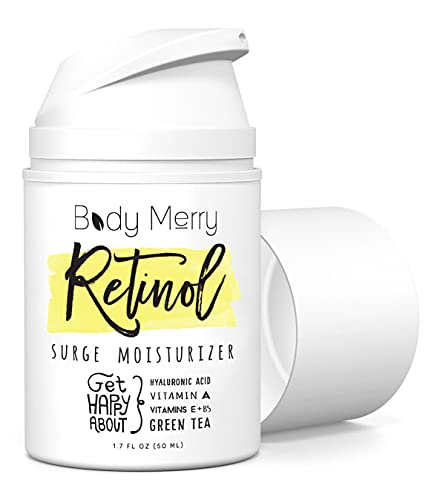 Body Merry Retinol Cream & Moisturizer for Face, Body & Eyes w Hyaluronic Acid for Anti Aging, Wrinkles & Acne; Use Day or Night! 1.7oz