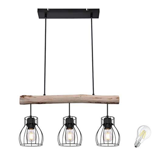 Pendelleuchte Retro Vintage Design LED Decken Holz Balken Holzstamm Rustikal Wood Pendel Spot Ess Zimmer Wohnzimmer Treppenhaus Gitter Lampe incl. 7W LED (3er Retro Pendelleuchte incl. LED)