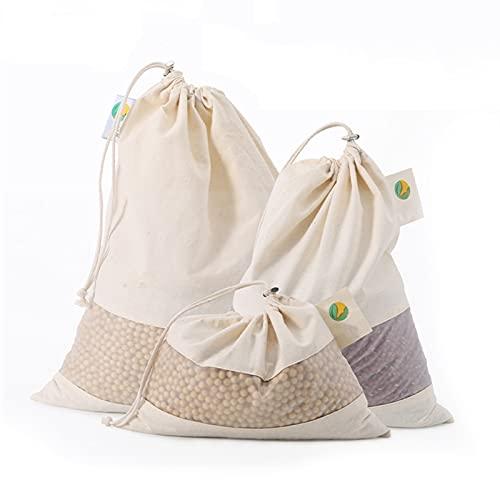 Bolsa de algodón ecológica Bolsa de almacenamiento de cocina Bolsa reutilizable Bolsa de algodón Bolsa de producto con cordón Bolsa de compras reutilizable con ventana (Color : 2S 5M 3L)