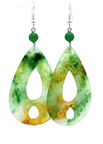 Pendientes de jade verde, plata 925, pendientes largos colgantes, joyas de piedras naturales, estilo oriental, piedra de nacimiento agosto