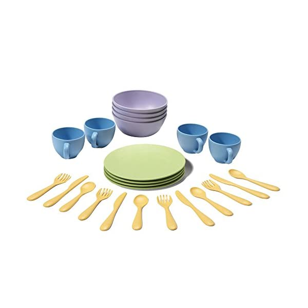 Green Toys Dish Flatware Set Includes Fork Knife Spoon Place Bow and Cup