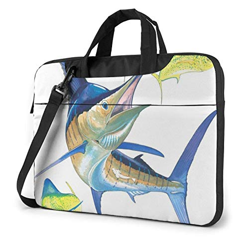 Fish Art Lightweight Waterproof Laptop Notebook Shoulder Backpack Bag Briefcase Messenger with Strap 15.6″