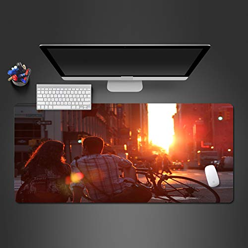 WeTTao Pad Couple in the sunset 800x300mm Mouse-Pad Gaming Mat Non-Slip Rubber Base Ultra Smooth Water-Resistant Surface Anti-Fray Stitched Locking-Edge WashableCompatible with Laser and Optical Mice
