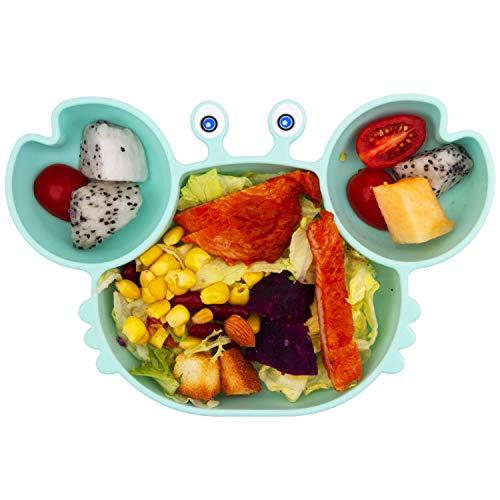 Qshare - piastre per neonati in silicone, piastre per bambini portatili per bambini, aspirazione potente su tavola, lavastoviglie e microonde sicura dalla FDA (Menta verde)