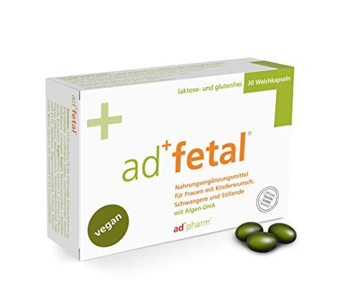 adfetal - VEGAN - Optimal versorgt bei Kinderwunsch, in der Schwangerschaft und Stillzeit - mit Folsäure, Jodid, Vitamin D, DHA aus Algen u.v.m. Monatsvorrat 30 Tabletten (Weichkapseln)