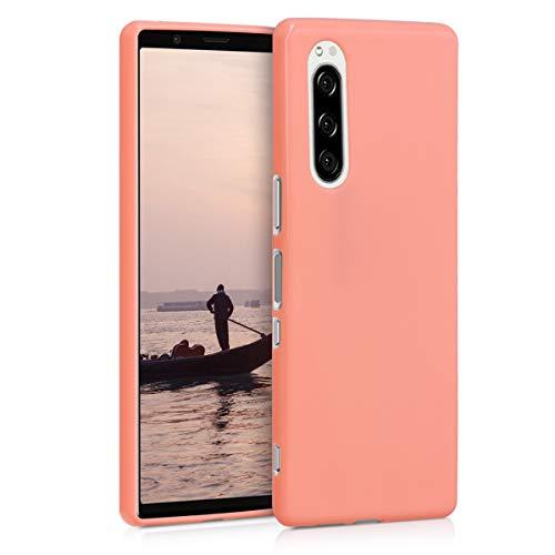 kwmobile Coque Compatible avec Sony Xperia 5 - Coque Housse Protectrice pour Téléphone en Silicone Or rosé Mat