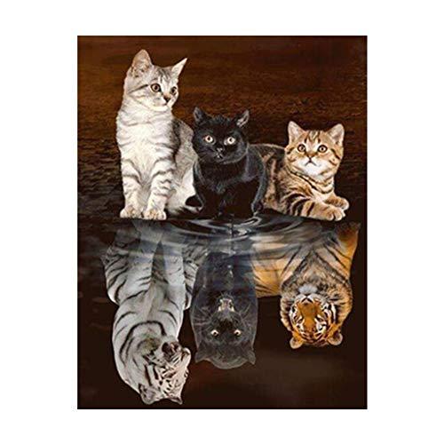 Cuadro de diamantes 5D,kit de pinturas con diamantes diy cristal para manualidades gato se convierte en tigre kit punto cruz diamante para decoración de pared, 45 x 55 cm