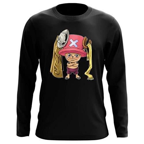 T-Shirt Manches Longues Noir Parodie One Piece - Tony Tony Chopper - Etendage Pirate : (T-Shirt de qualité Premium de Taille L - imprimé en France)