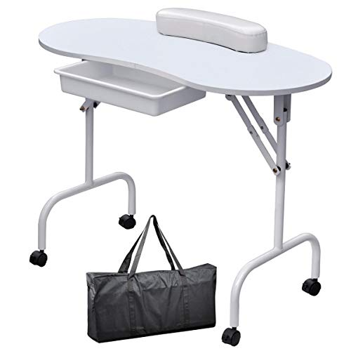 Yaheetech Manicure Table Nail Technician Workstation Art Desk with Drawer,Carry Bag and Wrist Rest