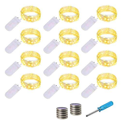 LED Lichterkette Batterie, 12x20 Micro LEDs Mini Lichterketten Kupferdraht Batteriebetrieb, 2M DIY kleine Lichterketten Wasserdicht für Party Hochzeit Weihnachten Beleuchtung Deko(Warmweiß)