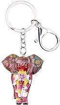 RVXZV Enamel Alloy Jungle Animal Elephant Key Chains Keychains Ring For Women Girls Teens Handbag Car Charm Jewelry