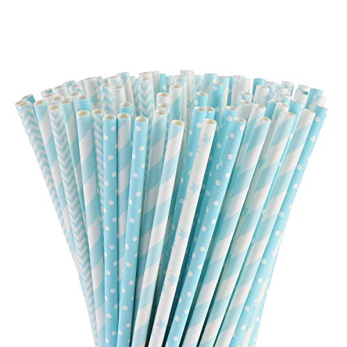ALINK Biodegradable Light Blue White Paper Straws, Pack of 100 Party Straws for Juice, Cocktail, Smoothies, Birthday, Wedding, Bridal/Baby Shower and Celebration Supplies
