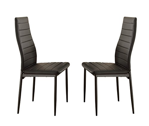 Homelegance Florian Metal Dining Chairs with Bi-Cast Vinyl Back and Seat Cover (Set of 2), Black