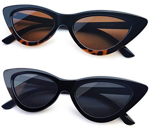 Joopin Gafas de Sol Ojo de Gato Polarizadas Protección UV Retro Vintage Gafas de Cateye Para Mujer (Negro+Leopardo)