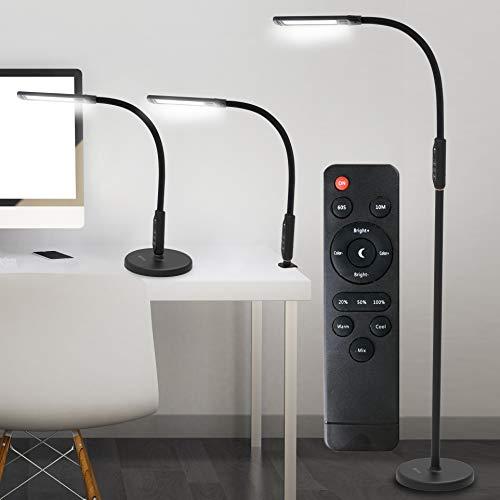 OTUS 3 in 1 LED Stehleuchte Dimmbar, 12W Schreibtischlampe, Klemmlampe, Lesen Standleuchte Flexibler Schwanenhals, 5 Farbtemperaturen, 5 Helligkeitsstufen, Leseleuchte für Wohnzimmer Schlafzimmer Büro