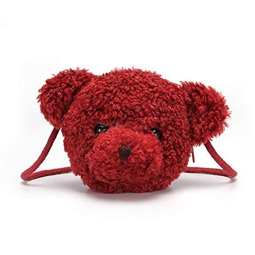 Esdlajks Monedero de la Mochila de para Las Mujeres Mochila para Niñas Kawaii Bear Pull Hoters Bag Bolsa De Dibujos Animados Animal Messenger Bag Backpack para Niños (Color : Red)