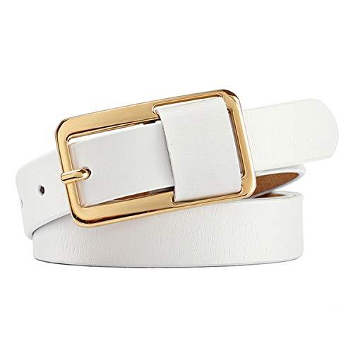Cinturón de hebilla de lujo 100% piel de vaca Cinturón femenino para mujeres Hip-Hop Pantalones vaqueros de cuero genuino Cinturones Candy 8 colores blanco 105 cm