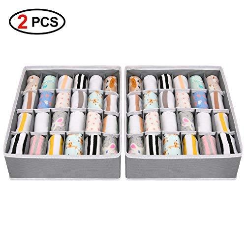 Joyoldelf 2 Stück Aufbewahrungsboxen für Unterwäsche und andere kleine Zubehörteile,24 Zellen Faltbare Schubladenunterteilungen zum Aufbewahren von Socken,Schals,Büstenhalter (Grau)