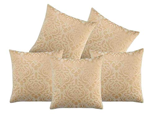 Indian Crafty Vibes 24 x 24 Inches Embosssed Velvet Cushion Cover Decorative Case Square Pillow Throw- 5 Pcs- Beige