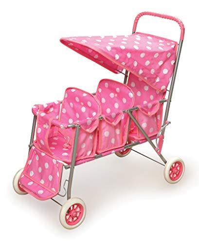 Badger Basket Triple Doll Stroller - Pink Polka Dots