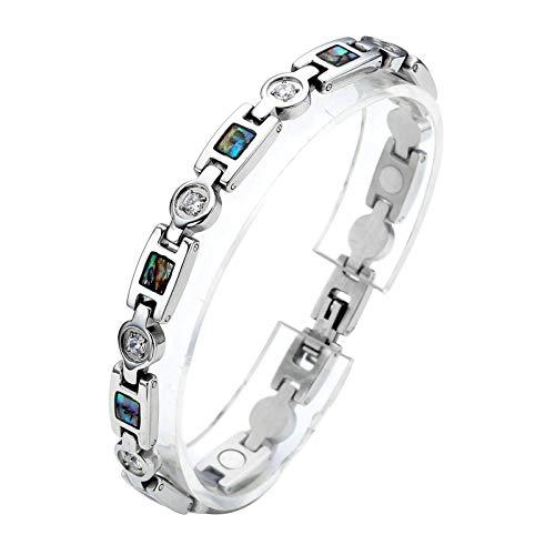 PiercingJak Damen Edelstahl Zirkonia Armband Magnetarmband Magnet Armband Armreif, Silber