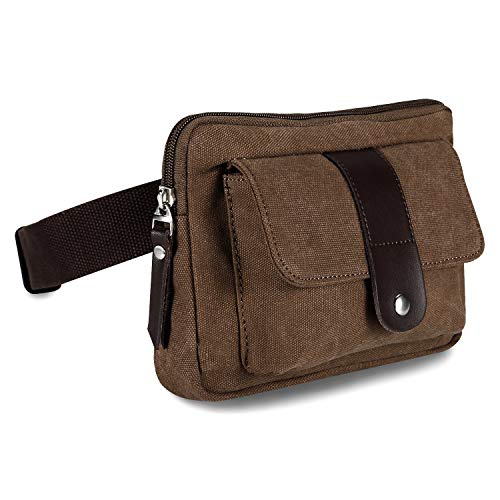 Ibagbar Small Fashion Multifunction Vintage Canvas Waist Bag Fanny Pack Running Pack Outdoor Bag Sporting Bag Cycling Leisure Bag...